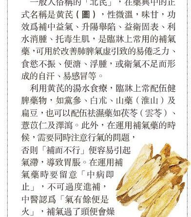 【中醫治療】湯水推介:黃芪改善肺脾氣虛 小心過補燥熱傷津