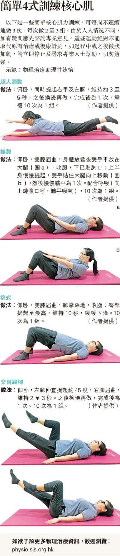 核心肌,運動消閒,物理治療,