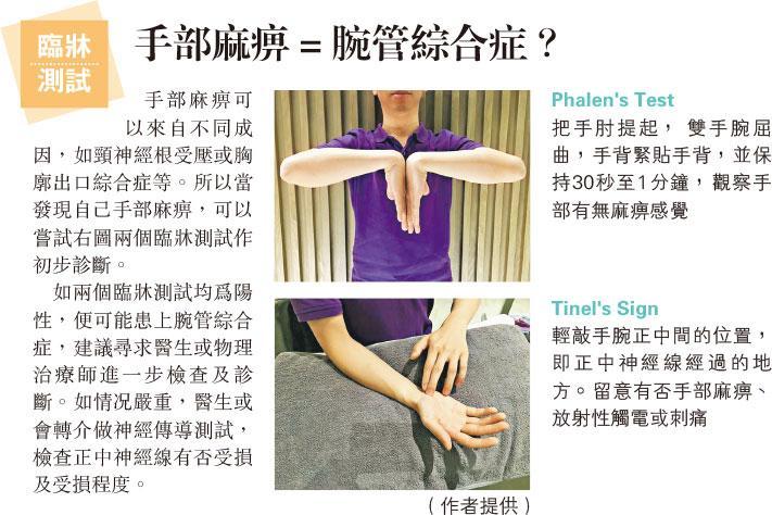手痹手麻 入夜特別痛 握拳屈掌 揮別腕管綜合症