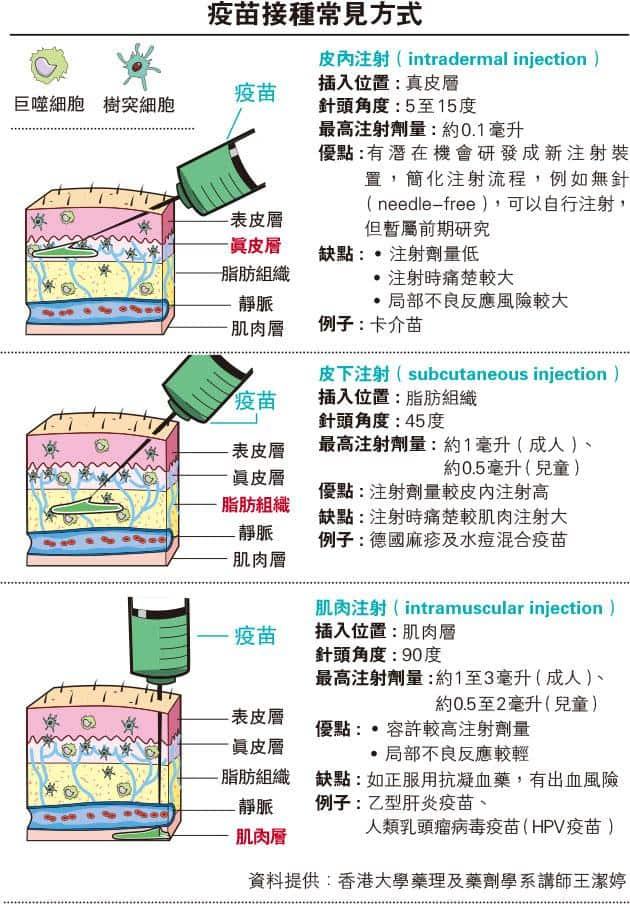 疫苗接種方式知多啲 肌肉注射、皮內注射、皮下注射有何分別?拆解3個打針迷思