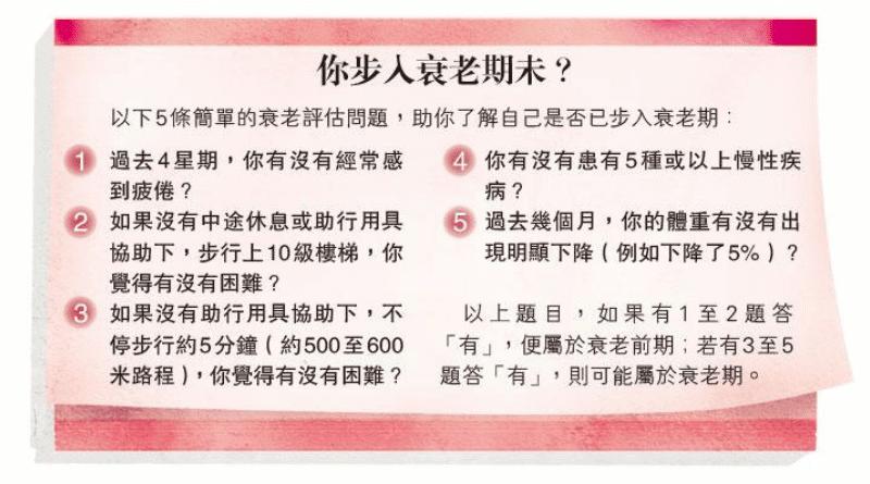 【衰老徵狀】5個問題評估是否步入衰老期 物理治療師教你動一動 防未老先衰(運動處方)
