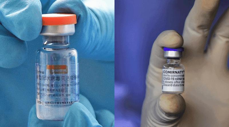 【新冠疫苗】同時接種新冠疫苗和流感疫苗副作用多 專家:應相隔14日 劉宇隆:科興、復必泰疫苗預防死亡重症效果相若(左:科興疫苗(法新社資料圖片)、右:BioNTech-輝瑞新冠疫苗(法新社資料圖片))