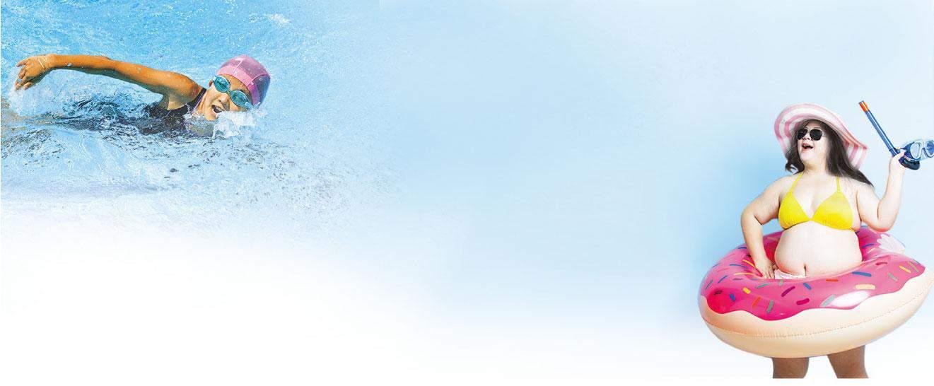 游水消脂——游水是帶氧運動,能充分燃燒體內脂肪,減肥效果顯著,且着重整體肌肉和心肺鍛煉。(設計圖片,hanapon1002、RyanKing999@iStockphoto)